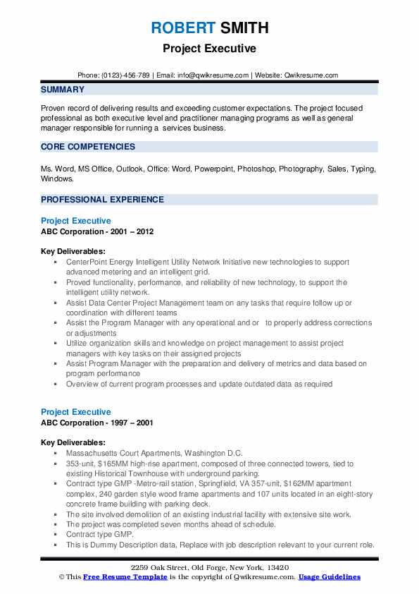 Project Executive Resume example