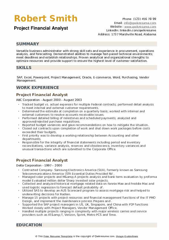 Project Financial Analyst Resume example
