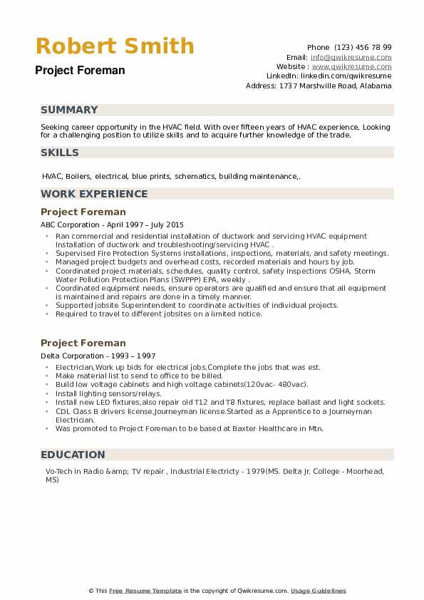 Project Foreman Resume example