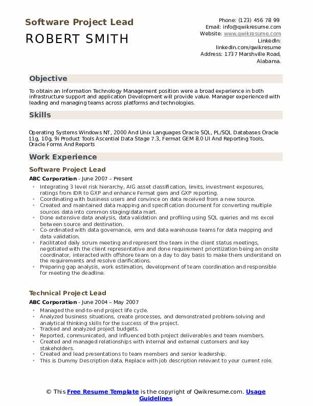 Software Project Lead Resume Format