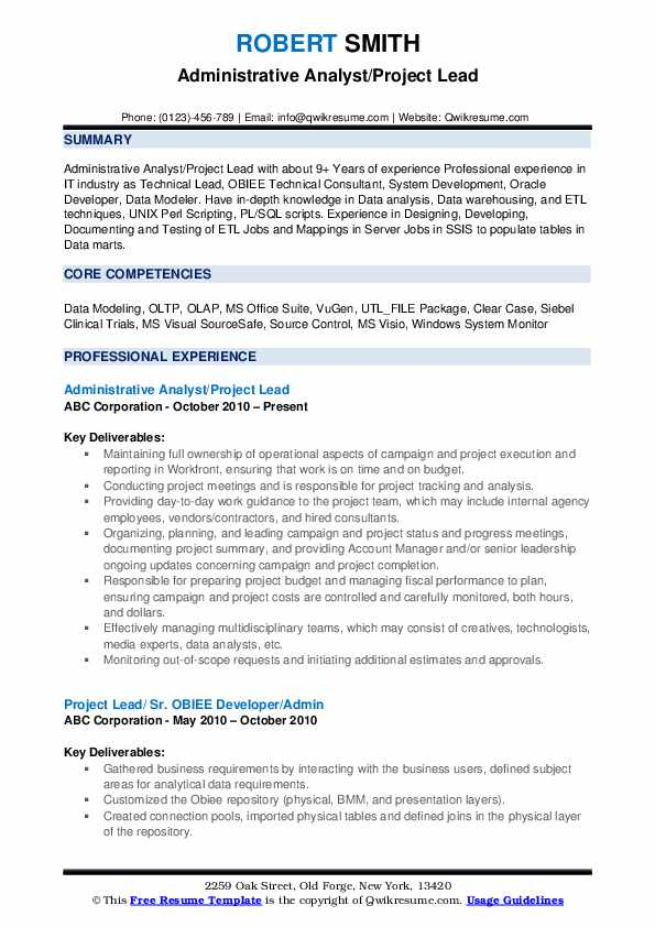 Administrative Analyst/Project Lead Resume Example