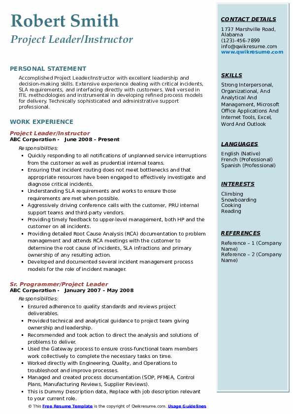 Project Leader/Instructor Resume Template