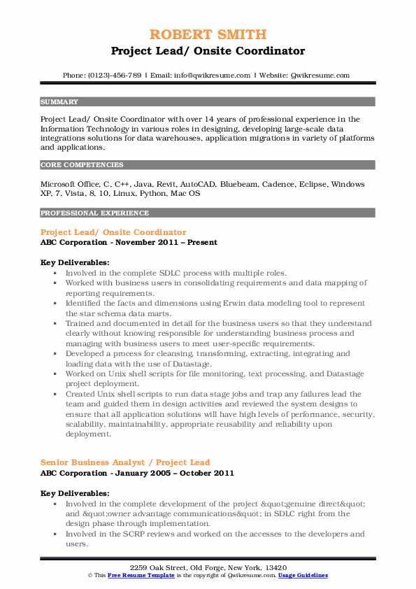 Project Lead/ Onsite Coordinator Resume Format