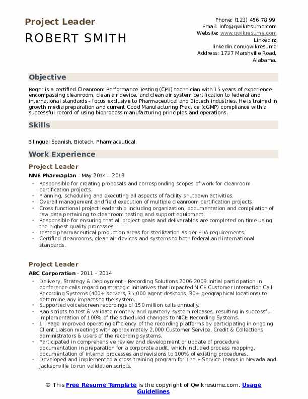 Project Leader Resume Samples | QwikResume