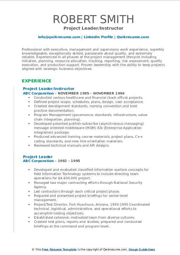 Project Leader/Instructor Resume Example