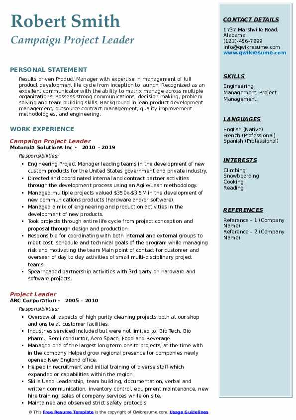 Campaign Project Leader Resume Format