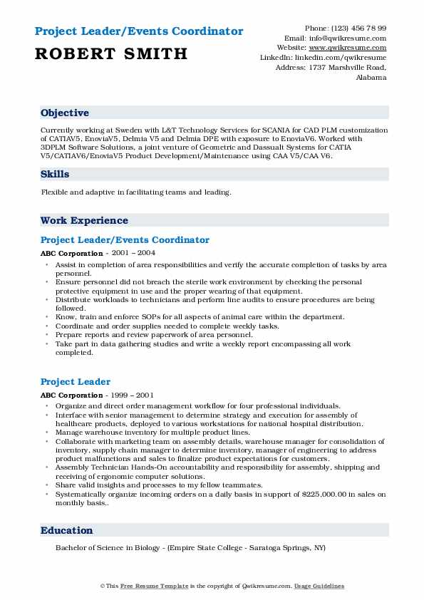 Project Leader/Events Coordinator Resume Format