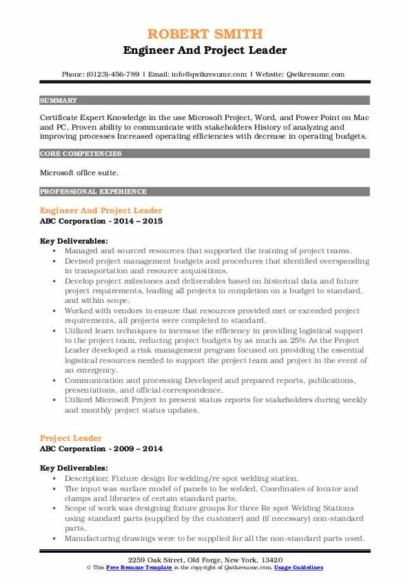 Engineer And Project Leader Resume Model