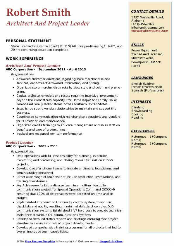 Architect And Project Leader Resume Example