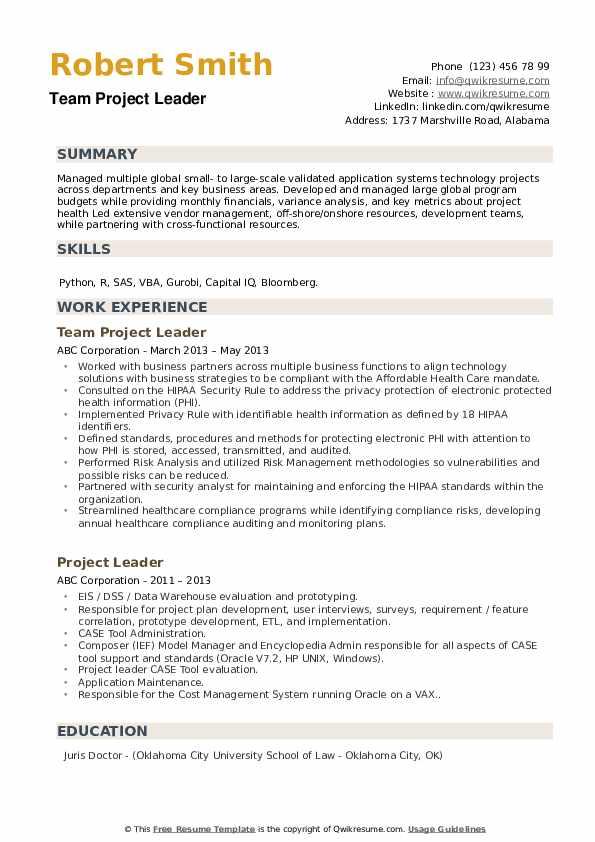 Team Project Leader Resume Format