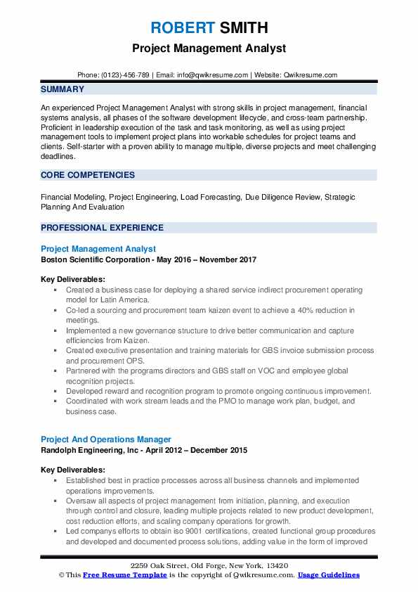 Project Management Analyst Resume Example