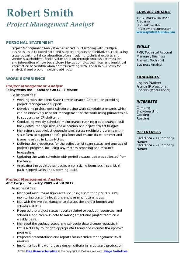 Project Management Analyst Resume Format