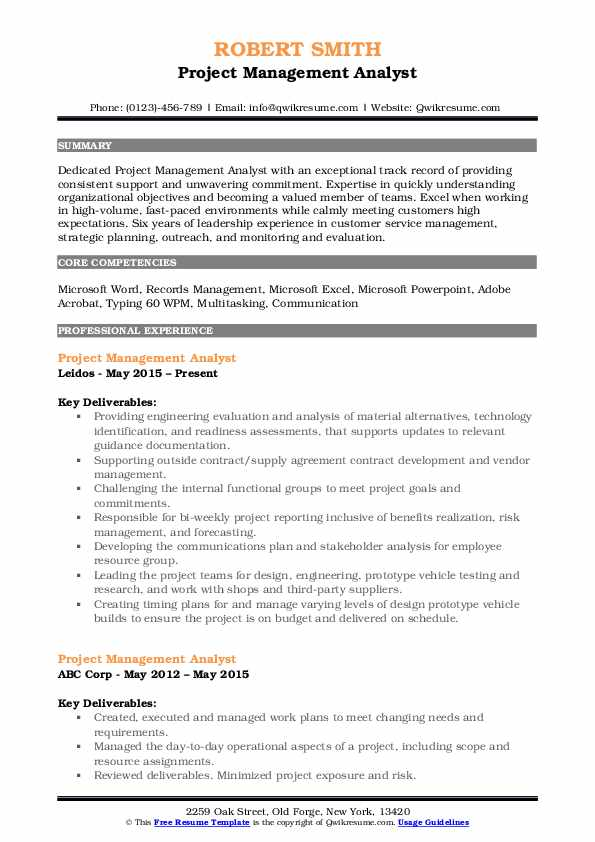 Project Management Analyst Resume Sample