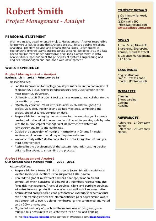 Project Management - Analyst Resume Sample