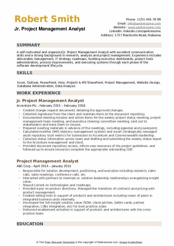 Project Management Analyst Resume Samples Qwikresume