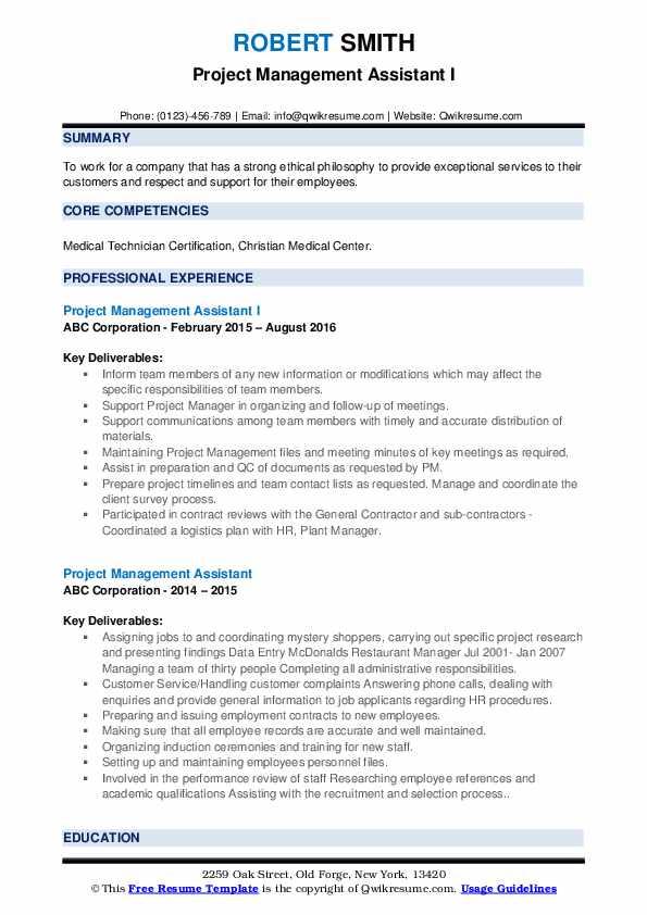 project management assistant resume samples