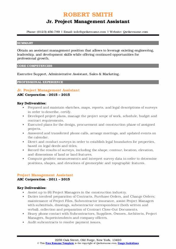 Project Management Assistant Resume Samples Qwikresume