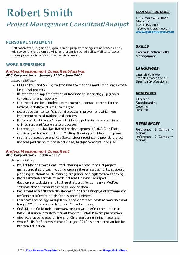 project management consultant resume samples  qwikresume