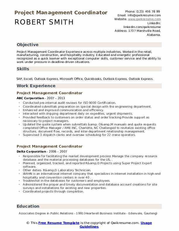 Project Management Coordinator Resume example