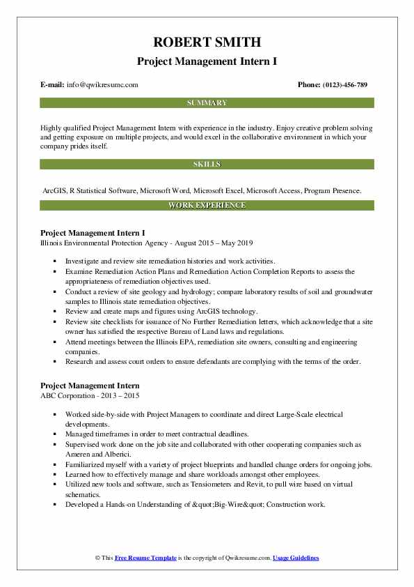 Project Management Intern I Resume Example