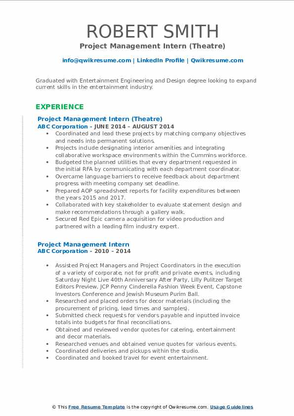Project Management Intern (Theatre) Resume Template