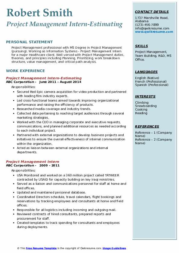 Project Management Intern-Estimating Resume Example