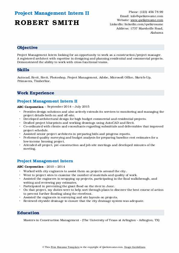 Project Management Intern II Resume Model