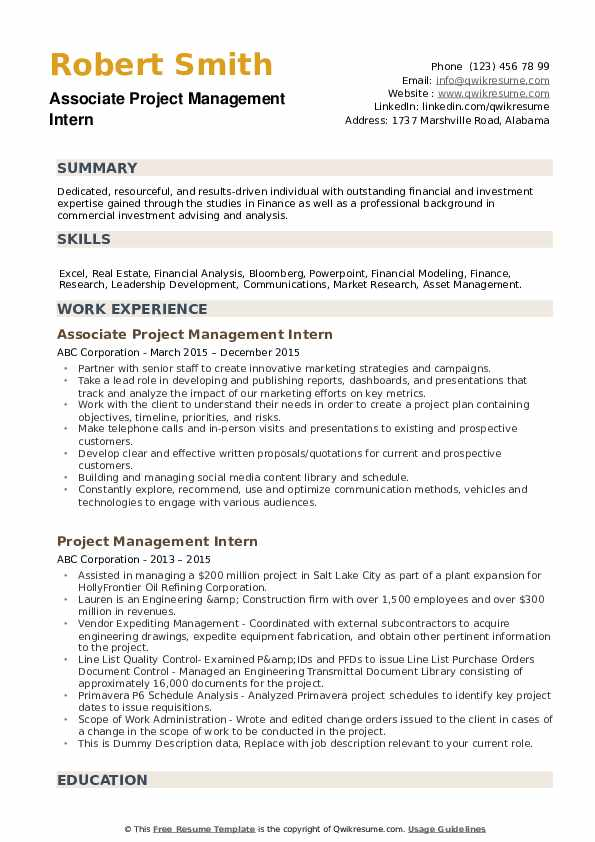 Associate Project Management Intern  Resume Model