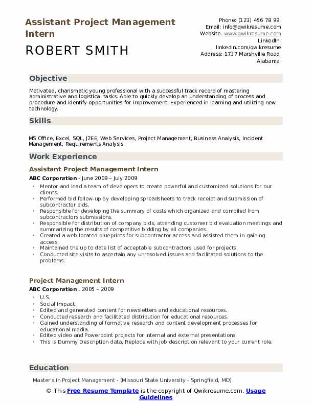 Assistant Project Management Intern Resume Format