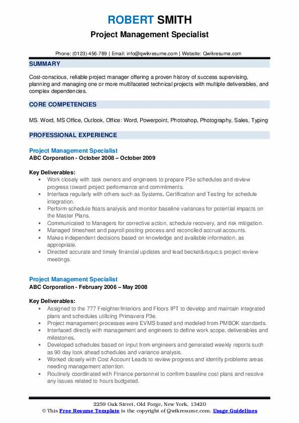 Project Management Specialist Resume example