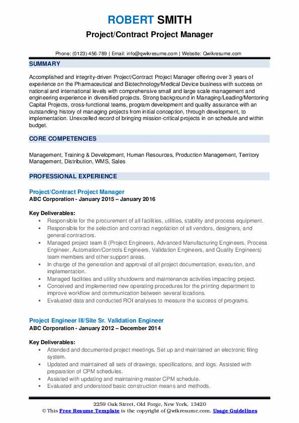Project Manager Resume Samples Qwikresume