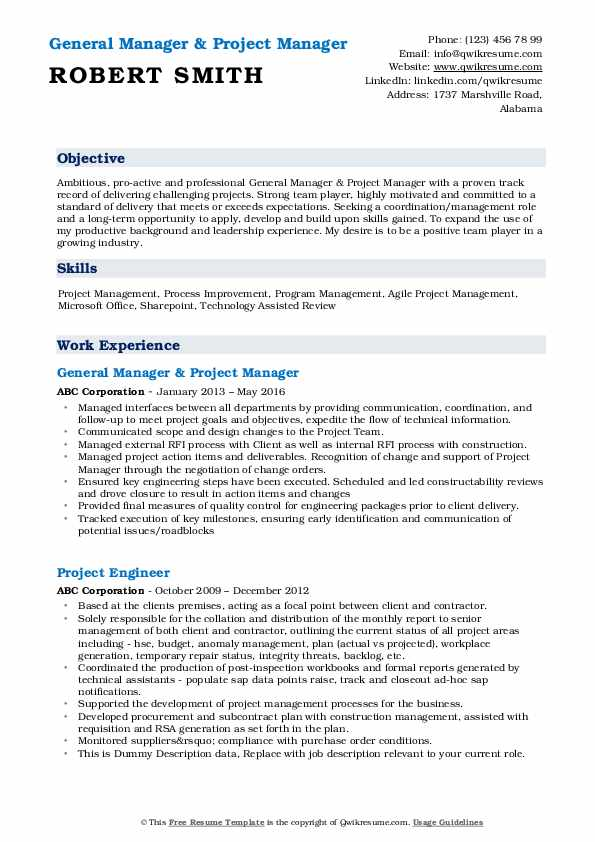 General Manager & Project Manager Resume Sample
