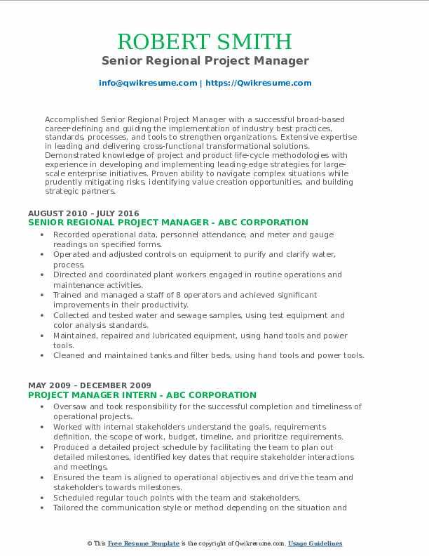 Senior Regional Project Manager Resume Format