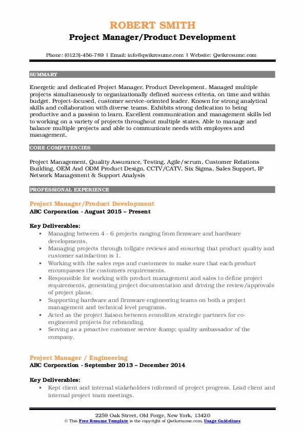 Project Manager/Product Development Resume Template