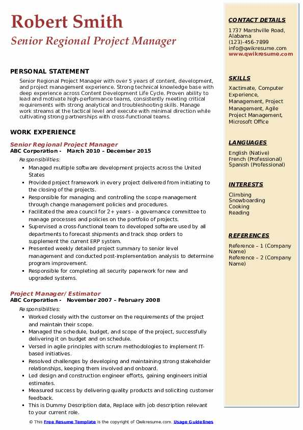 Senior Regional Project Manager Resume Example