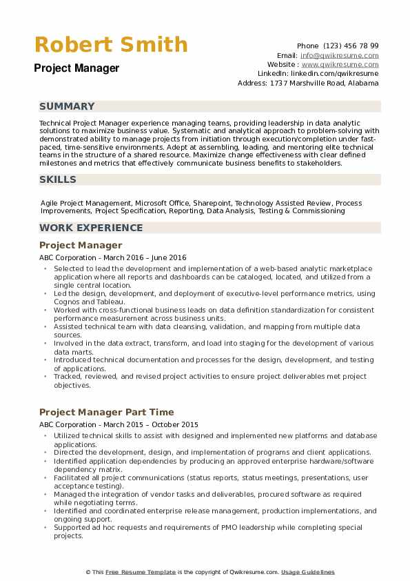 technical project manager resume