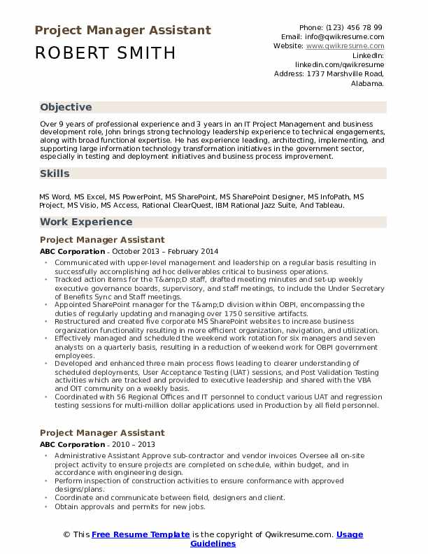 Project Manager Assistant Resume Model