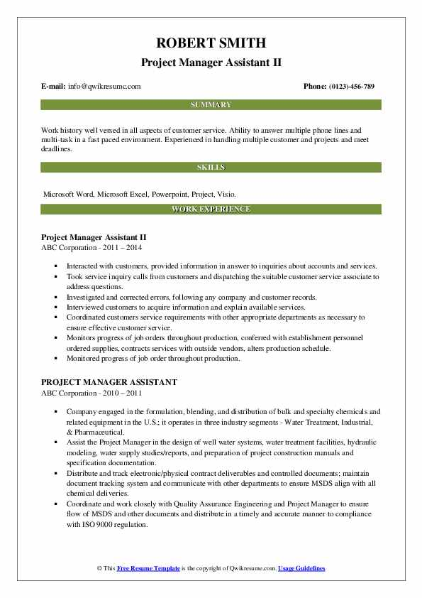 Project Manager Assistant II Resume Model