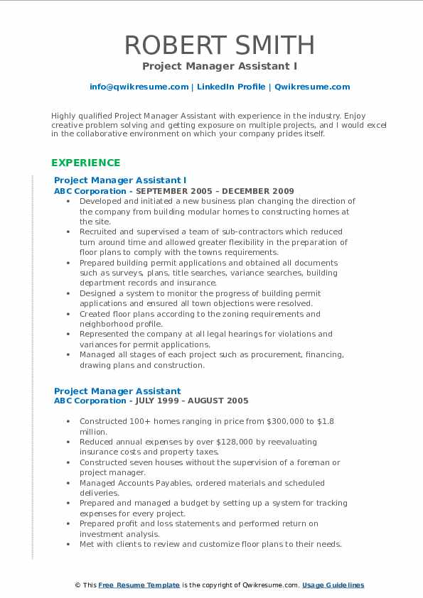 Project Manager Assistant I Resume Template