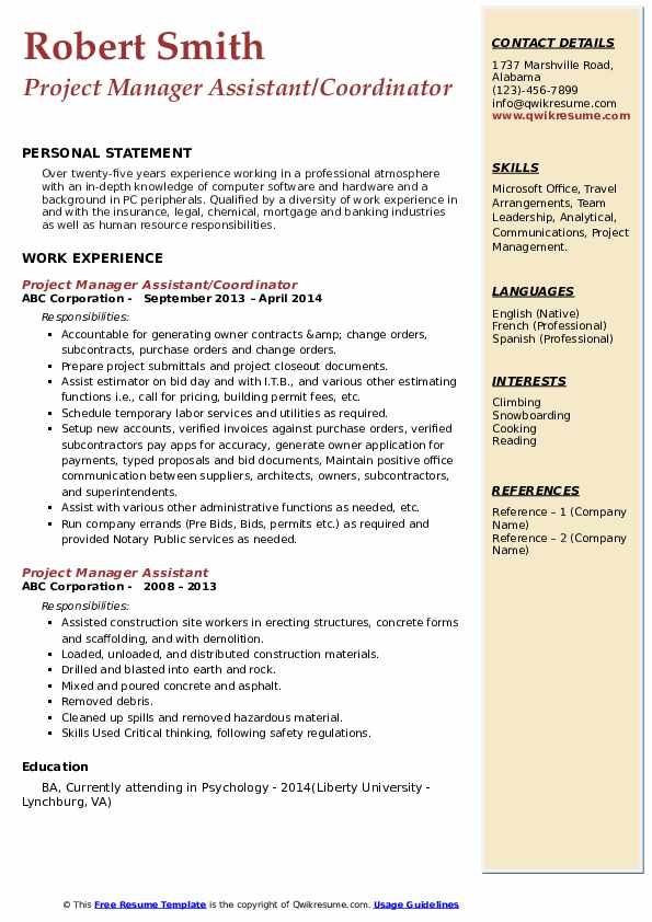 Project Manager Assistant/Coordinator Resume Model