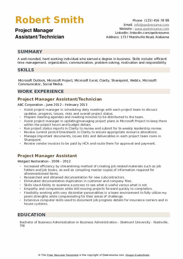 Project Manager Assistant/Technician Resume Sample