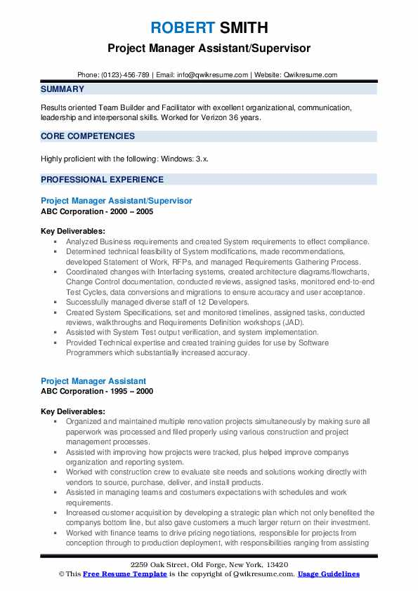 Project Manager Assistant/Supervisor Resume Template