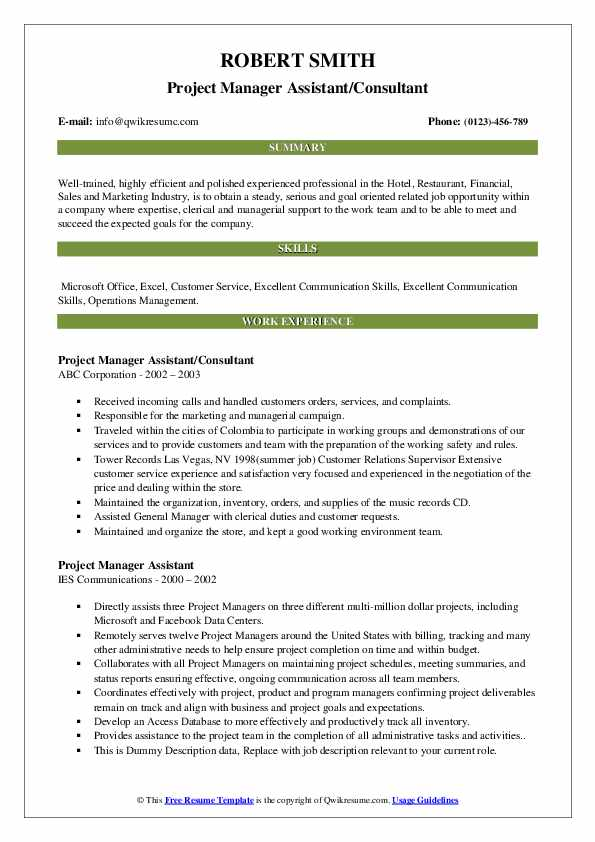 Project Manager Assistant/Consultant Resume Template