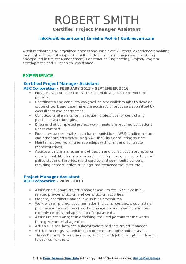 Certified Project Manager Assistant Resume Template