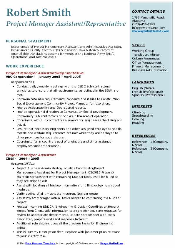 Project Manager Assistant/Reprsentative Resume Example