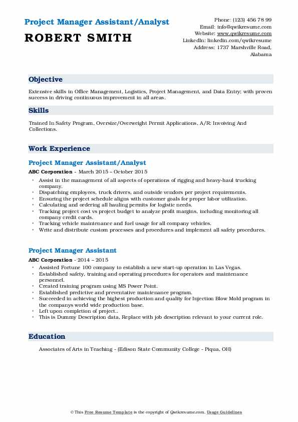 Project Manager Assistant/Analyst Resume Format