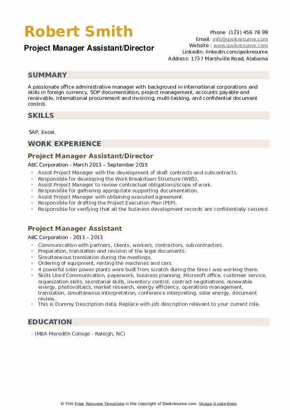 Project Manager Assistant/Director Resume Example