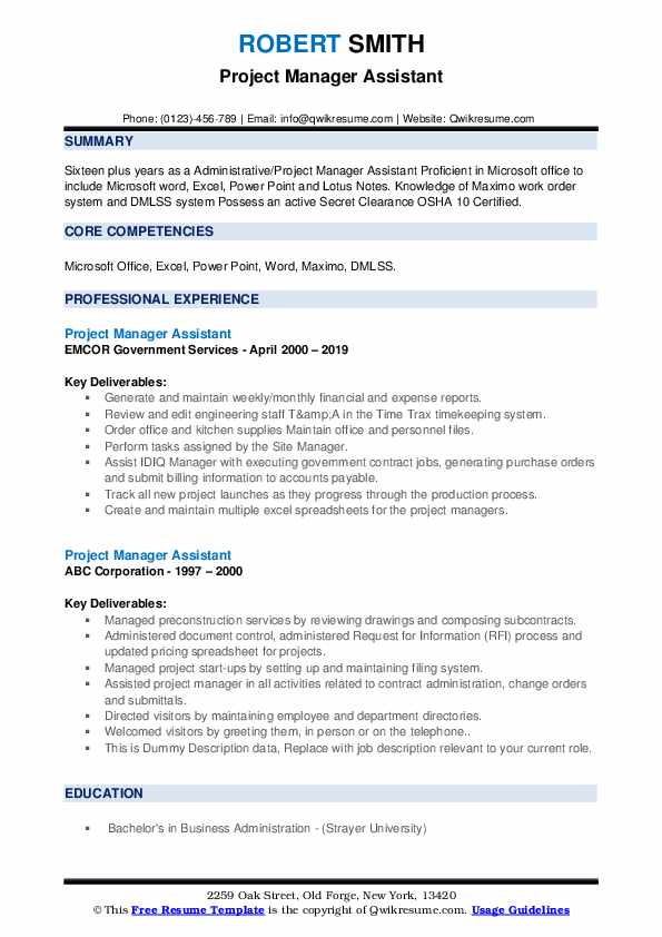 Project Manager Assistant Resume example