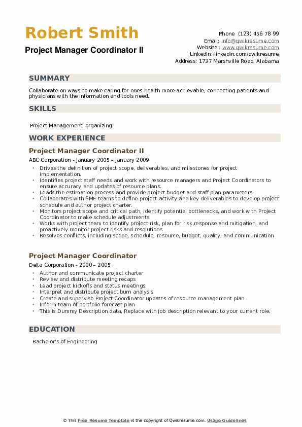 Project Manager Coordinator Resume example
