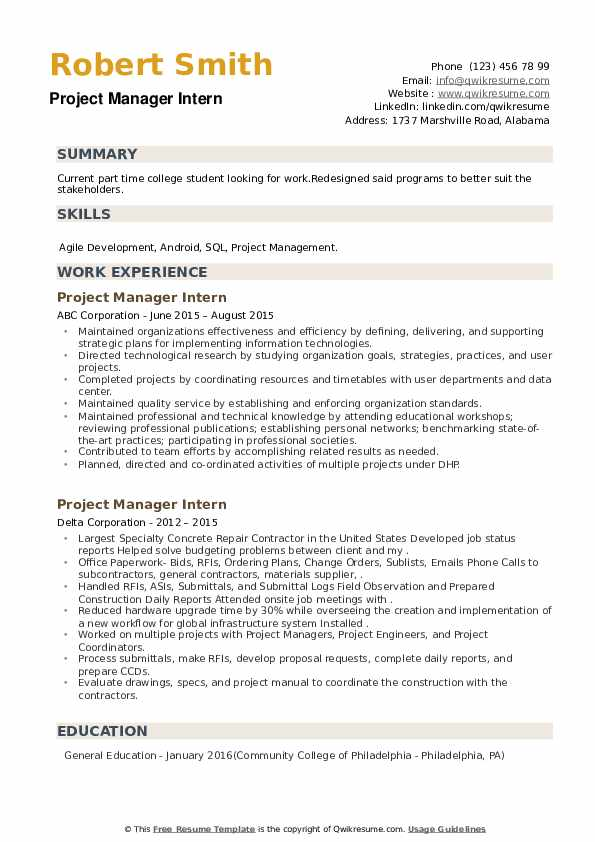 Project Manager Intern Resume example